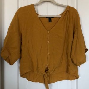 Forever 21 Solid button up knot-hem blouse in rust